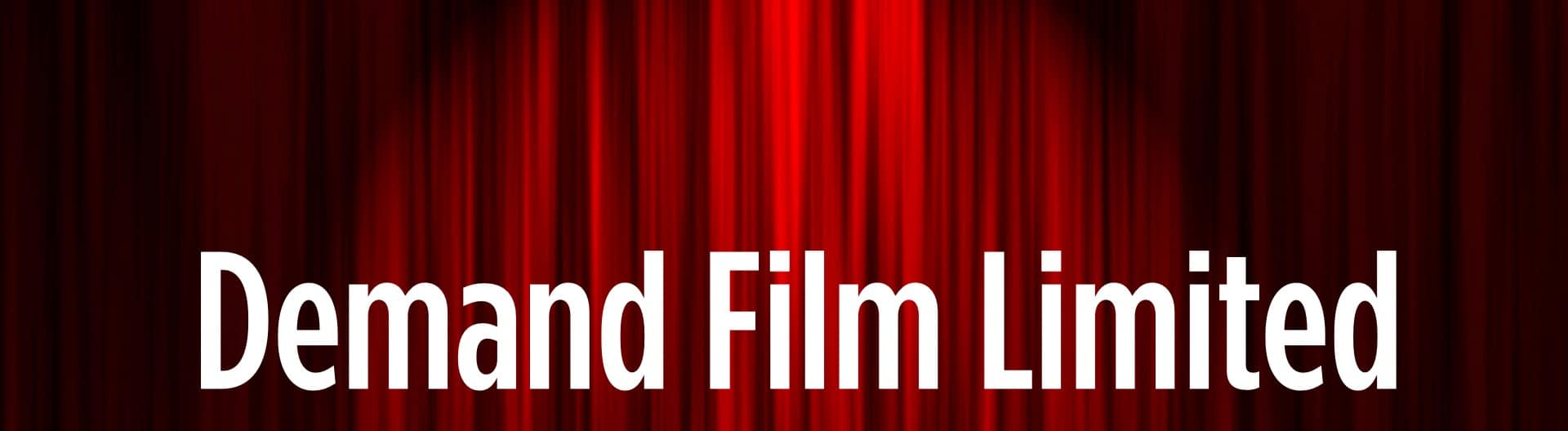 Demand Film title on a red curtain