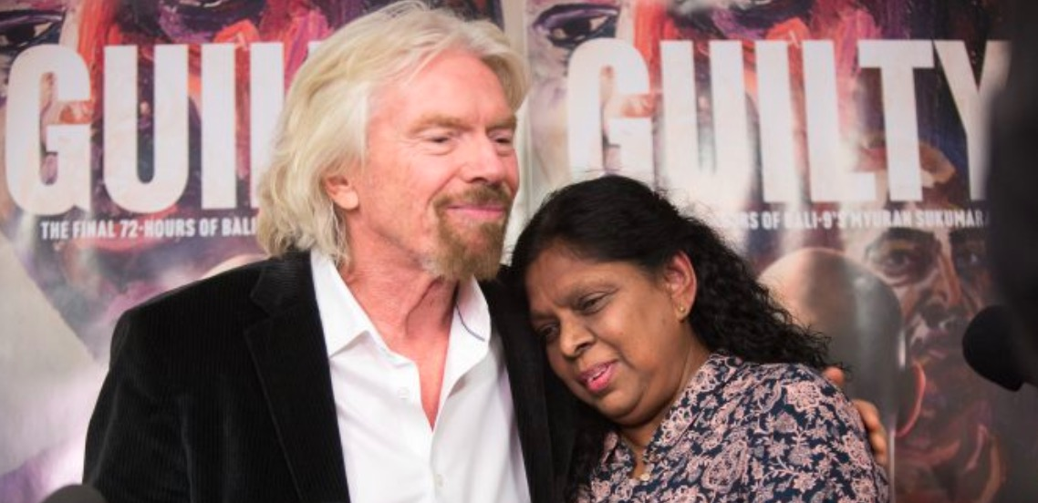 Richard Branson and Raji Sukumaran